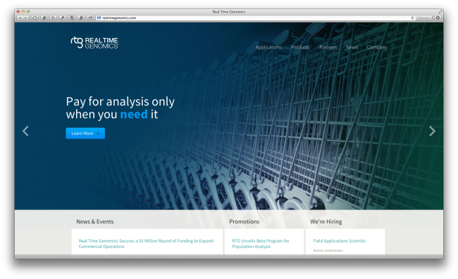 Screenshot of Real Time Genomics website by Bold